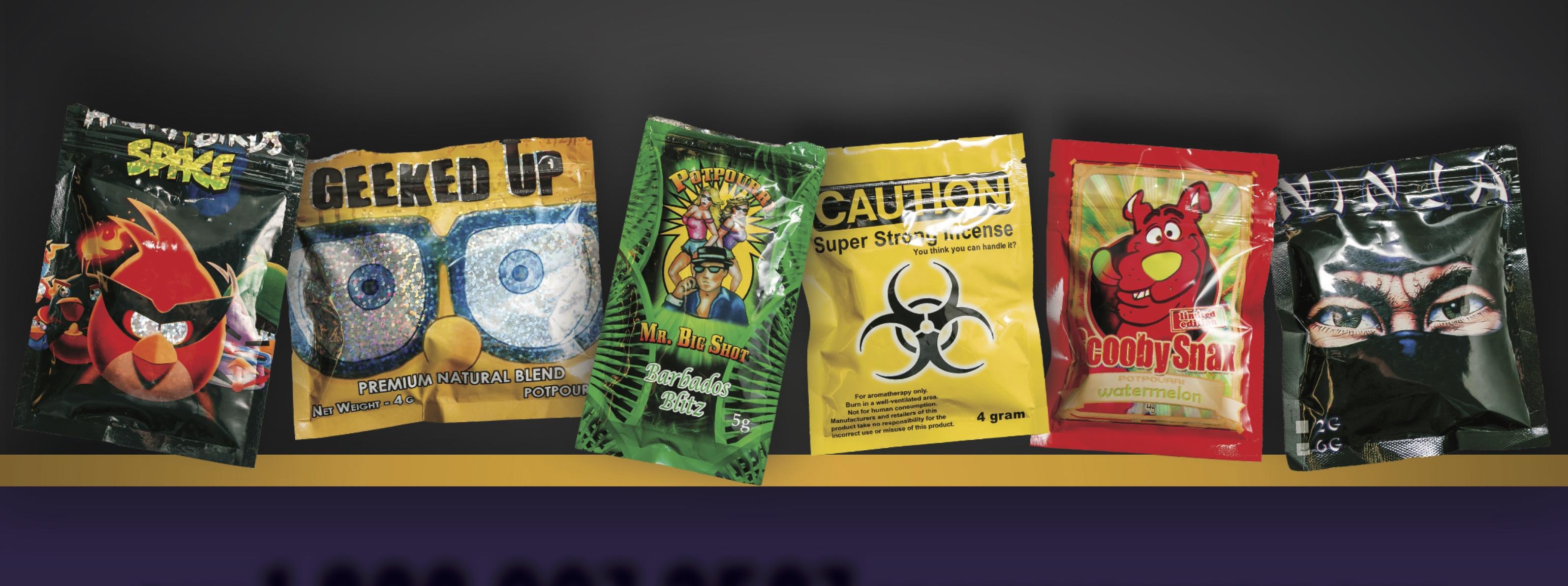 Embalagens com maconha sintética, vendida como incenso para driblar a lei