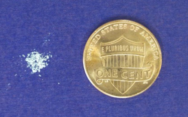 A dose of lethal fentanyl as compared to a penny